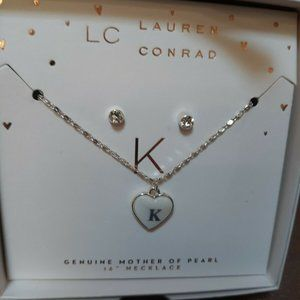 Lauren Conrad Mother Of Pearl Necklace &  Earring